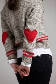 retro boyfriend varsity sweater inspired with heart shaped elbow patched=february love