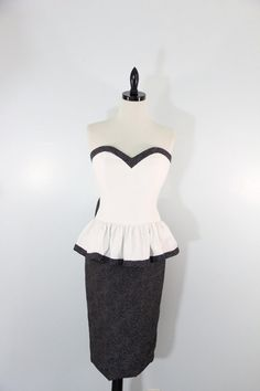 Vintage 1980s Dress Party Strapless black and by EightiesLadies, $39.00