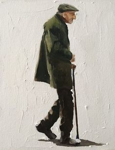 Linocut Prints, Poster Prints, Art Prints, Easy Paintings, Original Paintings, Old Man Walking, Man Illustration, Silhouette, Man Art