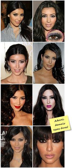 Se tem alguém que eu sempre reparo a maquiagem antes da roupa é a Kim Kardashian. Adooooro quase todas as makes dela, principalmente a dos olhos. O site dela é super bacana pois dá várias dicas de make up e ensina a fazer aqueles olhos maravilhosos. Juntei um tutorial que está no Youtubepara vocês verem …