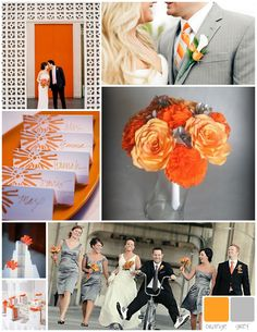 orange and grey wedding colors inspiration. Maybe a new colour!!! Lol I'm so not set on anything yet!!
