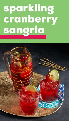 Sparkling Cranberry Sangria Whip up a mocktail version of a classic cocktail all thanks to this bubbly recipe Seltzer, cranberry juice, limes, and fresh sprigs of thyme come together to create this festive mixed drink! Christmas Drinks, Holiday Drinks, Party Drinks, Cocktail Drinks, Fun Drinks, Healthy Drinks, Mixed Drinks, Beverages, Alcohol Drink Recipes