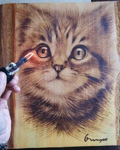 Cat art on wood