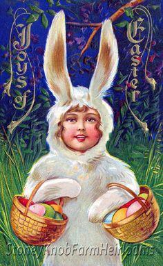 Dressed as an Easter Rabbit ~ Vintage Easter Ephemera ~ Cross Stitch Pattern #StoneyKnobFarmHeirlooms