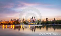 Tilt and shift view of sunset Kremlin in Izmailovo district of Moscow in red…