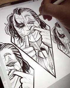 Tattoo Drawings For Men Sketches Joker Drawings, Dark Art Drawings, Cool Drawings, Pencil Drawings, Joker Sketch, Tattoo Sketches, Drawing Sketches, Tattoo Drawings, Drawing Ideas
