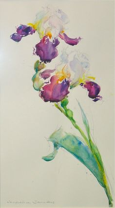 """""""Margaret's Iris"""" by Jacqueline Saunders. Watercolor, framed, 14"""" x 20""""."""