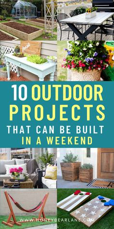 With the weather warming up, you'd want to stay outdoors after being coop up in the house. These 10 outdoor projects that can be built in a weekend will give you an excuse to be outdoors. DIY Raised garden boxes, an outdoor table, an outdoor coaches, you surely can make one of these on a weekend. Get your family to help and make it a team effort! DIY weekend projects for the house. Easy weekend DIY home projects. Easy DIy outdoor projects. Backyard Plan, Backyard Games, Backyard Ideas, Outdoor Living Patios, Outdoor Gazebos, Weekend Projects, Home Projects, Small Yard Kids, Diy Outdoor Furniture