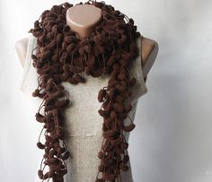 Brown crochet scarf.