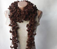 Brown crochet scarf.