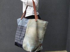 Large capacity bag Weekend bag gran cabas distressed denim