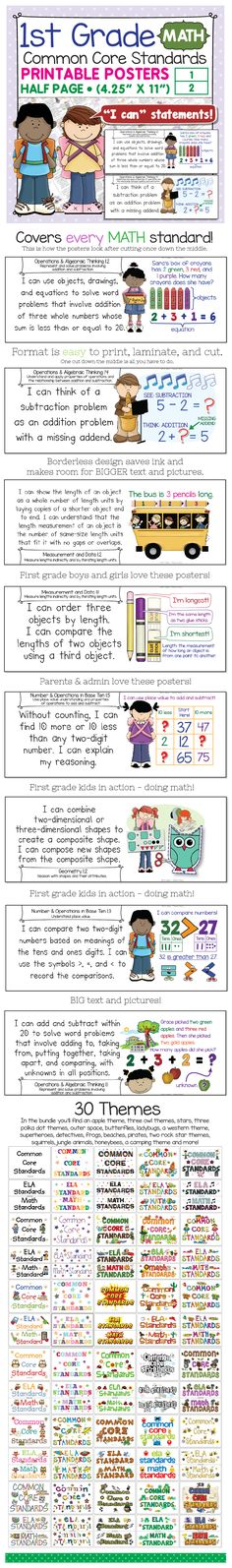 Easy-to-use printable posters for first grade math! New design that gets the most out of your limited wall space and printer ink! Big text and pictures of first grade kids doing first grade math. I had a lot of fun making these. Thanks for looking!  -Steve