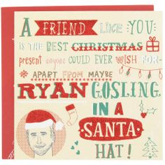 Ryan Gosling Christmas card from Paperchase