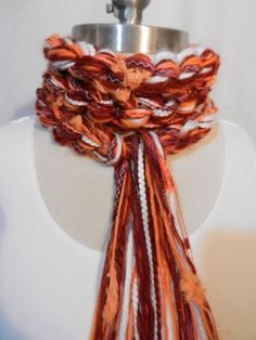 Virginia Tech College Scarf TEAM Crochet Scarf  Maroon Burnt Orange by sewstacy, $20.00