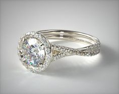 14k White Gold Pave Halo and Twisted Shank Solitaire | 11196W14 - Mobile