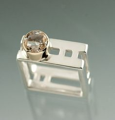 Large Sterling Silver Square Ring with White by JenLawlerDesigns, $290.00