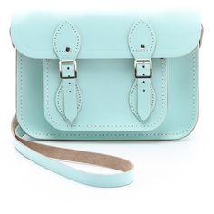 "Cambridge Satchel Pastel 11"" Satchel (150 AUD) ❤ liked on Polyvore featuring bags, handbags, purses, accessories, bolsas, sacs, mint, leather purses, satchel purses and blue leather handbags"
