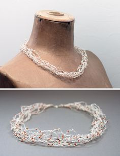 This Fine Paper Yarn Necklace is a DIY project in the All Things Paper book. It was designed and made by Linda Thalmann of PaperPhine. Paper Jewelry, Textile Jewelry, Paper Beads, Yarn Necklace, Necklaces, Fine Paper, Felt Christmas Ornaments, Paper Book, Twine