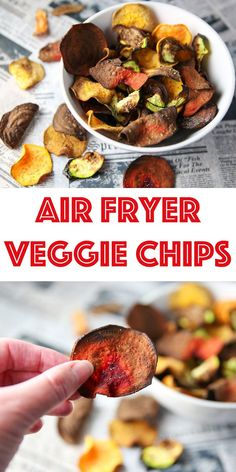 These Air Fryer Veggie Chips are super easy to make! This is such a great healthy light snack that is loaded with flavor! These Air Fryer Veggie Chips are super easy to make! This is such a great healthy light snack that is loaded with flavor! Air Fryer Recipes Breakfast, Air Fryer Oven Recipes, Air Fryer Recipes Vegetables, Air Fryer Recipes Vegetarian, Vegetarian Cooking, Healthy Breakfast Recipes, Clean Eating Snacks, Healthy Snacks, Healthy Chips