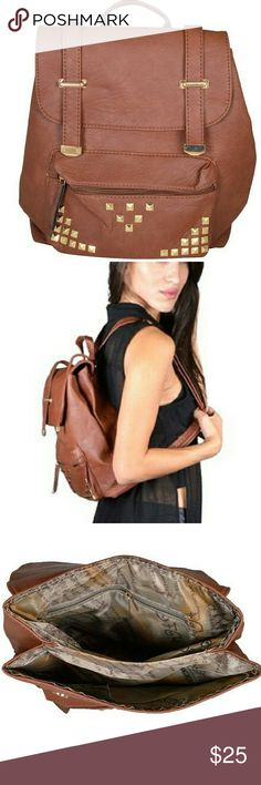 "Metal Embellished Solid Backpack Size:12""Lx13""W Brown Bags Backpacks"