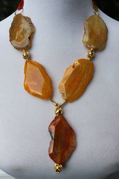 ORANGE AGATE NECKLACE by LuxuryatTRIZIAshop on Etsy, $155.00