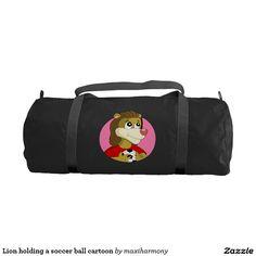 Lion holding a soccer ball cartoon gym duffel bag