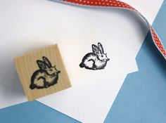 Rabbit Rubber Stamp. $4.00, via Etsy.