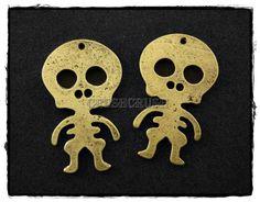 6pcs Antique Brass Baby Skeleton Skull CHARMS by Crushcrush, $2.19