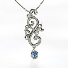 Pear Blue Topaz 14K White Gold Necklace with Diamond