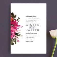 """Peeking Florals"" - Floral & Botanical, Traditional Wedding Invitations in Fuchsia by Lori Wemple. Traditional Wedding Invitations, Modern Wedding Invitations, Wedding Stationary, Wedding Invitation Cards, Wedding Cards, Wedding Vows, Wedding Things, Rustic Invitations, Floral Invitation"