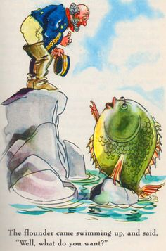 """dickfromafrica: """"From The Fisherman and His Wife, one of the Grimms' Fairy Tales in an edition published by Grosset & Dunlap in 1945. The illustration is by Fritz Kredel (February 8, 1900 – April 12,..."""