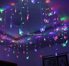 Cheap decorative ceiling insulation, Buy Quality decor directly from China ceiling fans with lights and remote Suppliers: Butterfly Led Ice Bar Lights Curtain Lights Flower Pavilion Decoration Corner Booths Ceiling Decoration Type: Butter Cute Bedroom Ideas, Cute Room Decor, Room Ideas Bedroom, Neon Room Decor, Neon Lights Bedroom, Hippie Bedroom Decor, Neon Bedroom, Bedroom Kids, Floral Curtains