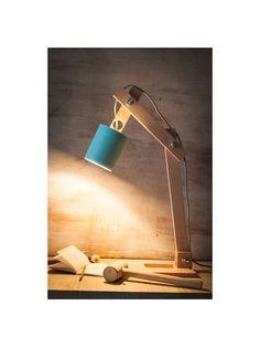 Lámpara escritorio madera bote azul Lámpara madera Lámpara
