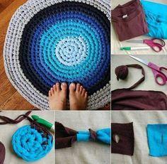 Upcycled T-shirt circle rug