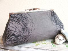 Silk clutch bag. Unique grey and black raw silk clutch bag. Made in France and ready to ship.