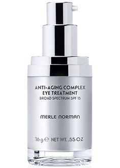 Anti-Aging Complex Eye Treatment Broad Spectrum SPF 15.  You should always use a moisturizer made for the eye are. Face moisturizers can be too rich for the eye area, and can cause puffiness.