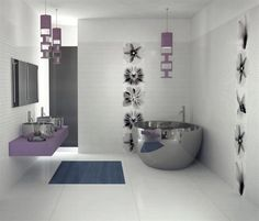 white and purple bathroom design with unique hanging lamp and flower tiles wall - Viva Ceramica