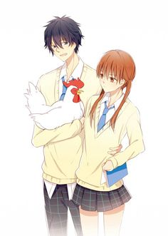Shizuku x Haru | Tonari no Kaibutsu-kun | My little monster | Anime } my fav character was the chicken