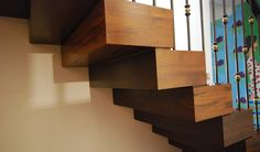 Cantilever Stairs Stacked Wood Block Effect_Jonathan Clark Architects_Seymour Walk | Diapo Staircase