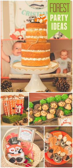 Such an awesome woodland party! It's celebrating a first birthday! See more party planning ideas at CatchMyParty.com!