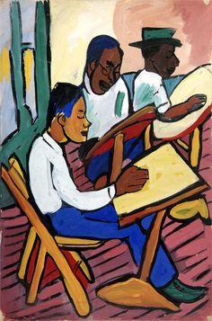 Art Class, Three Men - William H. Johnson