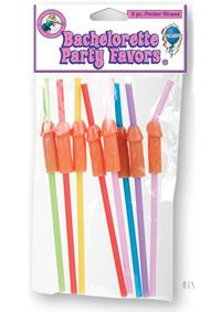 Bp Pecker Straws 8pk(individual)These saucy straws are the perfect accessory for any bachelorette party beverage -- they`re naughtier and much more fun than drink umbrellas! 8 per pack, in assorted colors. 8 per pack.