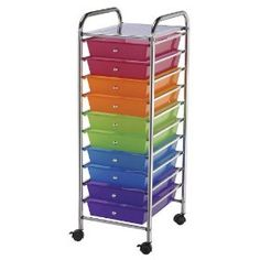 Blue Hills Studio Storage Cart with 10 Drawers, 13-Inch by 38-Inch by 15-1/2-Inch, Multi-Color
