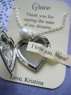 Mother of the Groom gift heart locket necklace by buysomelove, $15.00.. Giving this to my mother-in-law on the day of the wedding. (: