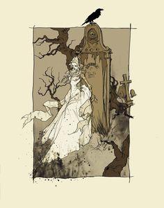 """Illustration to Edgar Alan Poe's """"Lenore"""" by Abigail Larson"""