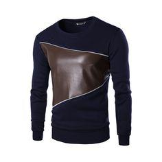 Camiseta de Couro Masculina Elegante Casual de Inverno Manga Longa