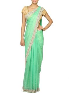 Sarees : Green and Gold Designer Shimmer Georgette Party Wear Saree