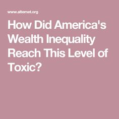 How Did America's Wealth Inequality Reach This Level of Toxic?