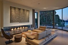 Modern horizontal fireplace. A Belvedere residence designed by Polsky Perlstein Architects which overlooks San Francisco Bay