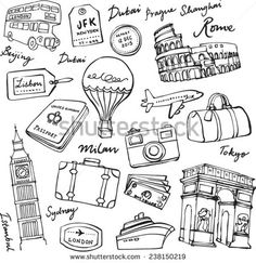 Travel theme doodle vector set grunge background - stock vector